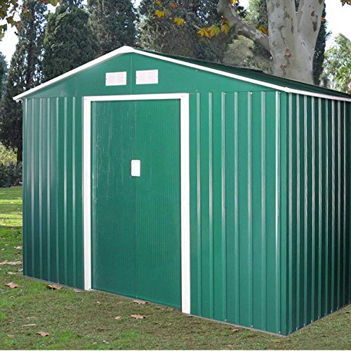 9X6' Garden storage shed metal pent tool shed house galvanized steel foundation