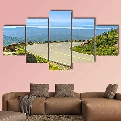 QQQAA 5 Piezas Lienzos Cuadros Pinturas Dibujos Unidad de montaña Cadillac Impresiones En Lienzo Decoración para El Arte De La Pared del Hogar XXL 150 x 80 cm