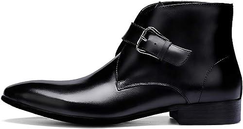 ZHRUI Stiefel con Hebilla para herren Stiefel Formales de Moda con Punta de Cuero Genuino (Farbe   schwarz, tamaño   EU 39)
