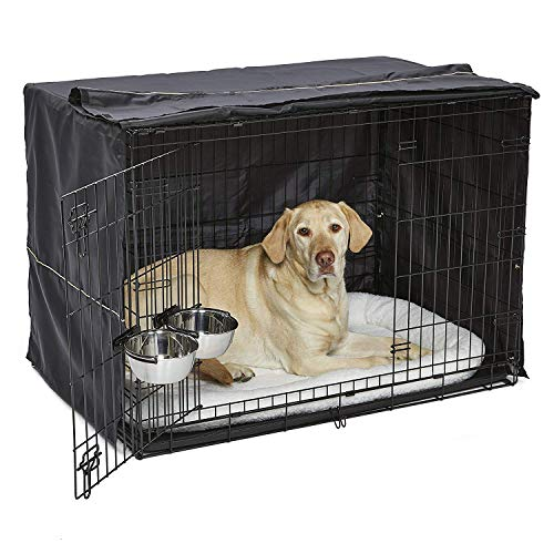 iCrate Dog Crate Starter Kit | 42Inch Dog Crate Kit Ideal for Large Dog Breeds weighing 71  90 Pounds || Includes Dog Crate Pet Bed 2 Dog Bowls amp Dog Crate Cover