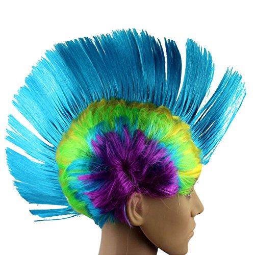 Espeedy Adultos Niños Divertidos Pelucas de Pelo Arco Iris Cosplay Punk Rock Tocado Máscara Masquerade Vestido de Fiesta de Halloween Vestido de Accesorios