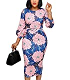 nuoshang Women's Crewneck Bodycon Floral Printed Elegant Work Office Midi Dress with Belt (3XL) Pink