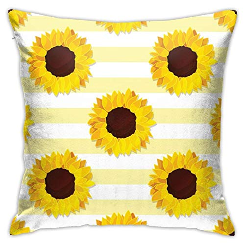 N/Q Pillow Covers Throw Cover Cases for Couch Sunflower with Yellow Stripe Invisible Zipper Closure Cushion Case for Home Sofa Bedroom Car Chair House Party Indoor Outdoor 18 x 18 inch 45 x 45 cm