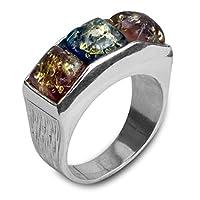 野田純銀製の指輪、正方形のモチーフ、シルバー、19、色:赤、タラ。 24708から9-R