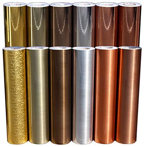 (EUR 19,49 / m²) Plotterfolie Metall Flakes Mosaik Silver Oilslick Glitter Auto Effekt Folie Hologramm Plottfolie (Schliff Kupfer, 30.5cm)