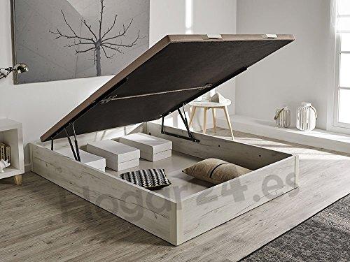 HOGAR 24 Canapé Abatible de Madera de Gran Capacidad Tapa 3D Transpir