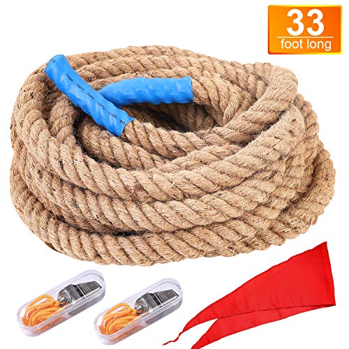 runju 33 Foot TUG of WAR Rope with Flag - Kids and Adults Family Game,Team Building,Soft Rope,Professional Long Lasting,Extra Thick for Easier