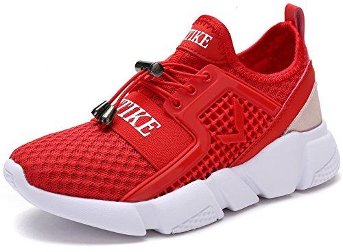 VITIKE Kinder Schuhe Jungen Schuhe Mädchen Sneaker Damen Sportschuhe Outdoor Schuhe Jungen Turnschuhe Laufschuhe Schnürer Freizeit Sportschuhe Kinder Sneaker, 4-rot, 35 EU