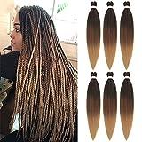 6pc 66cm Pre-Stretched Easy Trenzas Extensiones de Pelo Yaki Braiding Twist Crochet Hair Profesional Fibra Sintético para Trenzas Africanas Box Braids (1B/30/27)