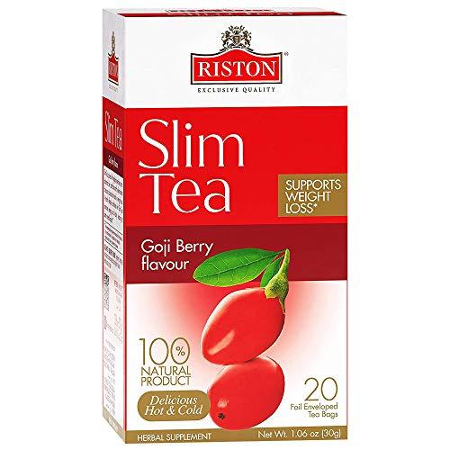 Riston Slim Tea Goji Berry Slim Tea Green Detox Tea 100% Natural Herbal Promotes Energy and Vitality, Individually Foil Wrapped Herbal Tea   20 Tea Sachets/pack (Goji Berry)