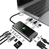 15-in-1 USB C Hub Adapter for MacBook Pro - W/Wireless Charging, 4K HDMI,1080P VGA,PD Port, Ethernet Port,SD Card Reader, 3 USB 3.0, 4 USB 2.0, 3.5mm Audio Port for Pixelbook XPS, More Type C Latops
