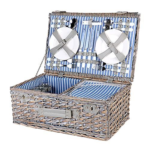 YAROK Cesta de Picnic de Mimbre de Lujo para 4 Personas Camping Senderismo con Cubiertos de Acero Inoxidable, Compartimento Aislado, Copas de Vino Y Platos de Cerámica Incluidos - 54x34x20 Cm