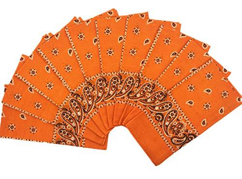 Vamqor 100% Cotton 10 Pack Fine Bandanas(Orange)