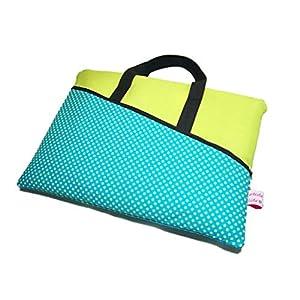 Handmade Tablet Netbook Notebook Tasche Dotty türkis grün mit Henkel und 2 Fächer, Maßanfertigung
