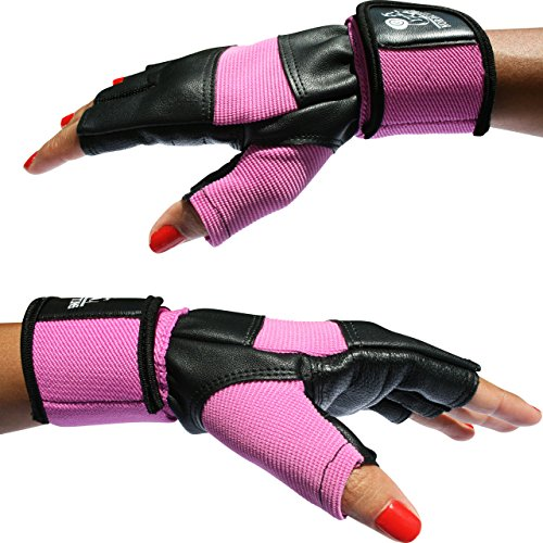"Weight Lifting Gloves with 12"" Wrist Support for Gym Workout, Weightlifting, Fitness & Cross Training - The Best for Men & Women - by Nordic Lifting - (Pink, Small) - 1 Year Warranty"
