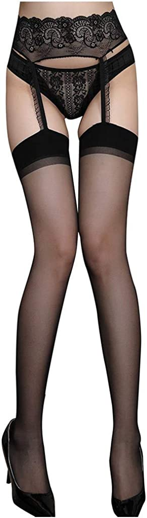 Women Sexy Solid Color Tights Stockings Lace Top High Waist Socks Pantyhose for Dancing Party,One Size