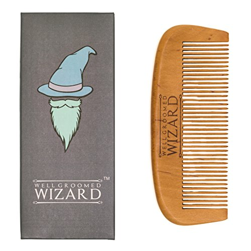 Well Groomed Wizard Wooden Beard and Hair Comb For Men, classic Beard Grooming Comb