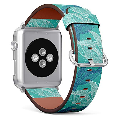 Compatible with Apple Watch Series 5, 4, 3, 2, 1 (Big Version 42/44 mm) Leather Wristband Bracelet Replacement Accessory Band + Adapters - Sea Turtles Marine