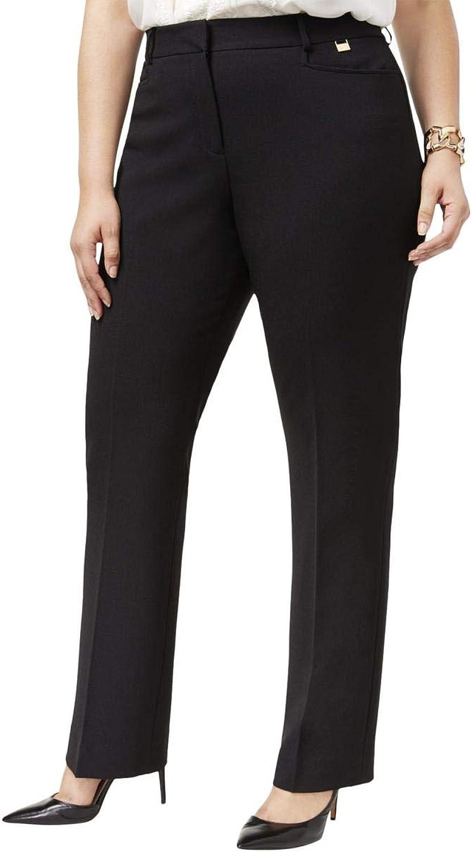 Tahari ASL Womens Plus Straight Leg Business Wear Dress Pants Black 14W