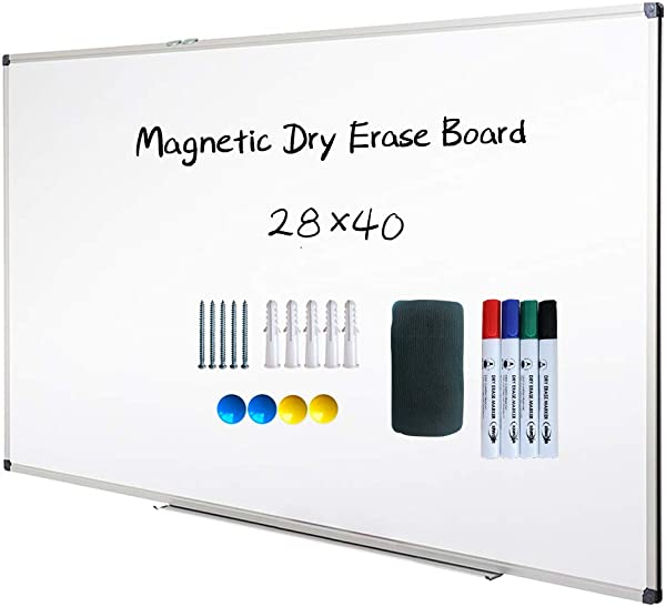 Magnetic Dry Erase Board Whiteboard Wall Mounted 40 X 28 Inch White Board Silver Aluminium Framed With Lacquered Steel Surface