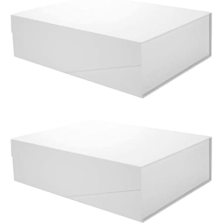 PACKQUEEN 2 Extra Large Gift Boxes 17x14.5x5.5 Inches,Sturdy Gift Boxes with Lids,Collapsible Gift Boxes with Magnetic Closure,Bridesmaid Proposal Boxes,Groomsman Boxes(Matte White,Grid Pattern)