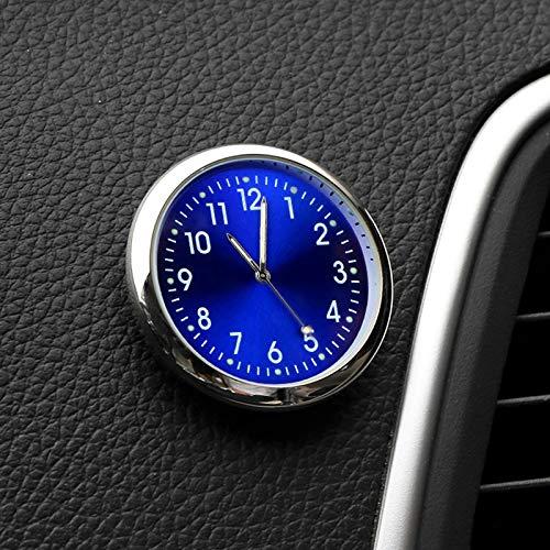 Byrhgood Reloj del Coche Luminoso Mini Automóviles Interna Stick-En el Reloj Digital Mecánica Automotriz Relojes de Cuarzo Que Labra los Accesorios Regalos (Color : Blue)