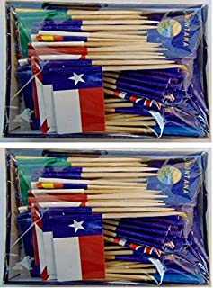 2 Boxes of Assorted State Toothpick Flags, 200 Small Mini State Flag Cupcake Toothpicks or Cocktail Picks