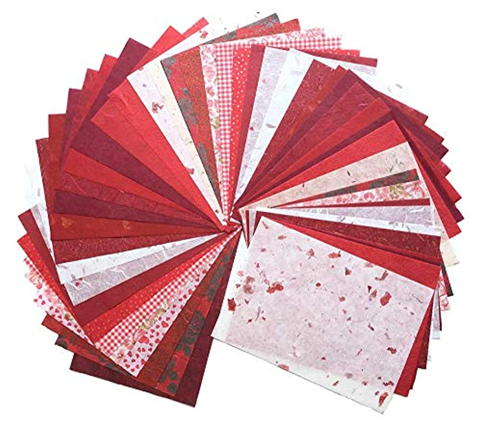 RATREE SHOP 60 Sheets Mixed Red 8.5x12 Inches Mulberry Paper Sheet Design Craft Hand Made Art Tissue Japan Origami Washi Wholesale Bulk Sale Unryu Suppliers Thailand Products Card Making (N004) claufbtr7693