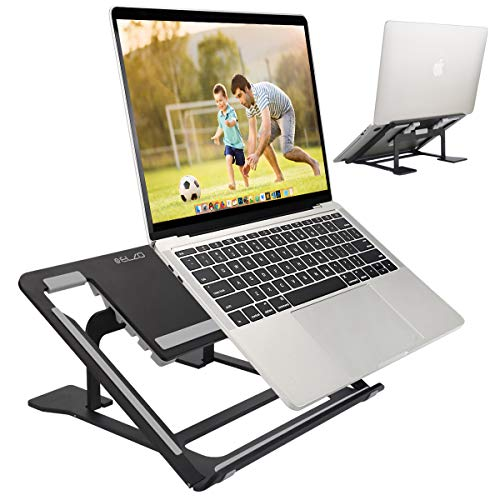 ELZO Supporto Richiudibile in Alluminio, Supporto per PC Portatile 11'-17' Pieghevole e Laptop Stand con Design Ergonomico e Stabile per iPad, MacBook Air, MacBook PRO e Altri Notebook