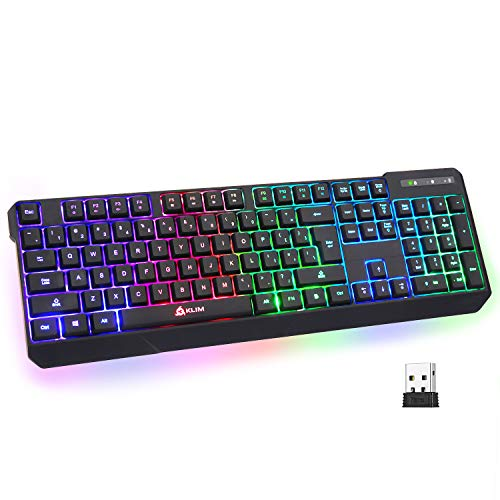 KLIM Chroma Rechargeable Wireless Gaming Keyboard + Slim, Durable, Ergonomic, Quiet, Waterproof, Silent Keys + Backlit Wireless Keyboard for PC PS4 Xbox One Mac + Teclado Gamer + New 2021 Version