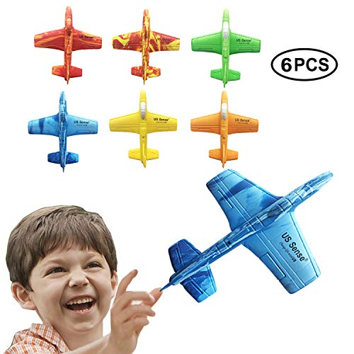 US Sense 6 Pack 7' Airplane Battle Plane Toy Throwing Foam Airplane Flying Aircraft Plane DIY Glider Aeroplane Model Jet Kit Flying Toys Outdoor Sport Game Toys Great Gift for Birthday