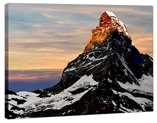 Art_Depot_Outlet Sunrise on the Matterhorn mountain + tela opera d' arte immagine, A2 - Size 52cm x 36cm