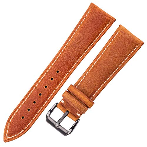 ZZDH Correa Reloj Cuero Reloj Strap 18mm 20mm 22mm 24mm Damas Hebilla de Metal para Hombres (Band Color : Yellow Black Clasp, Band Width : 20mm)