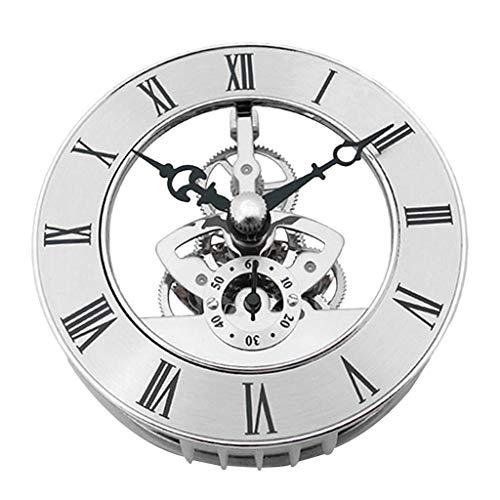 IPOTCH Quarz Uhrwerk Einsatz, Römische Ziffer, Skelett Quarzuhrwerk, Einsteckwerk zum Tischuhren Ersetzen, Silber/Goldfarbe - Silber