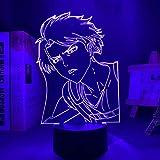 Luces decorativas 3D LED Anime LED Night Light Sword Art Online Kirito para la decoración de habitaciones, regalo colorido, lámpara de noche manga 3D Kazuto Kirigaya para recién nacidos y chicas