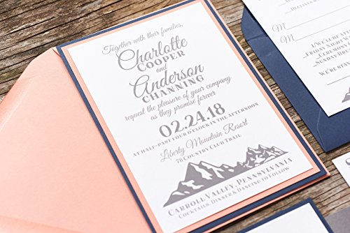 Personalized Mountain Wedding Invitation Card Suite with RSVP, Rustic Country, Charlotte Sample