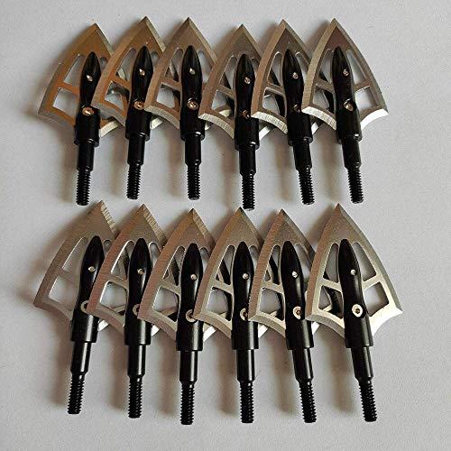 ZZUUS 12Pcs 100 Grain Broadheads 2 Klingen Edelstahl Bogenschießen Pfeilspitzen für Armbrust Compound Bow