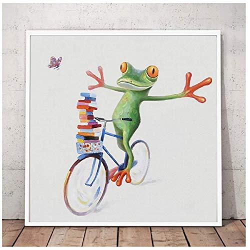 Rana feliz con gafas Póster de arte de pared Pintura de animal de dibujos animados lindo pintado en lienzo Sala de estar moderna Decoración para el hogar Regalo 50x50cm Sin marco