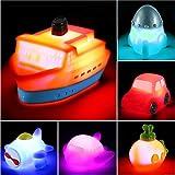 Juguetes para el Baño con Luz Intermitente que Cambia de Color en el Agua - Set de 6 Juguetes Luminosos Flotantes de Goma para Bebés, Niños y Niñas para Jugar en la Bañera, en la Ducha o en la Piscina