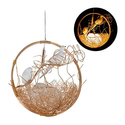Relaxdays Lampadario, a Forma di Nido, 2 Uccellini, a 2 Lampadine, Lampada Sospesa, Metallo/Vetro, 135x46x40 cm, Oro