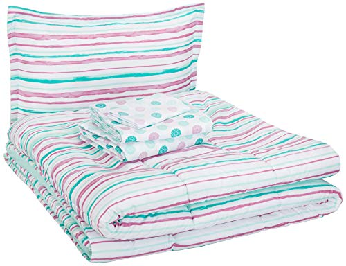 AmazonBasics Easy Care Super Soft Microfiber Kid's Bed-in-a-Bag Bedding Set - Twin, Purple Squiggly Stripe