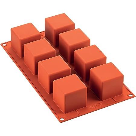 Silikomart 26.104.00.0060 SF104 Moule Forme Cube 8 Cavités Silicone Terre Cuite
