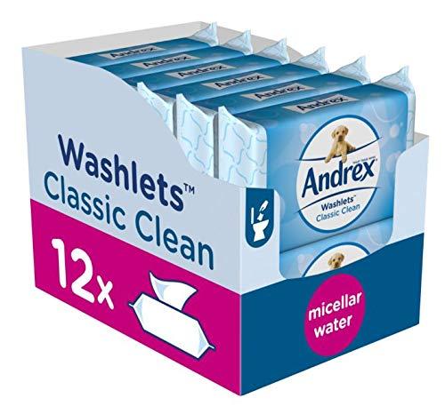 Andrex Washlets herunterspülbarer Toilettentücher Tücher, Classic Clean, 12Stück