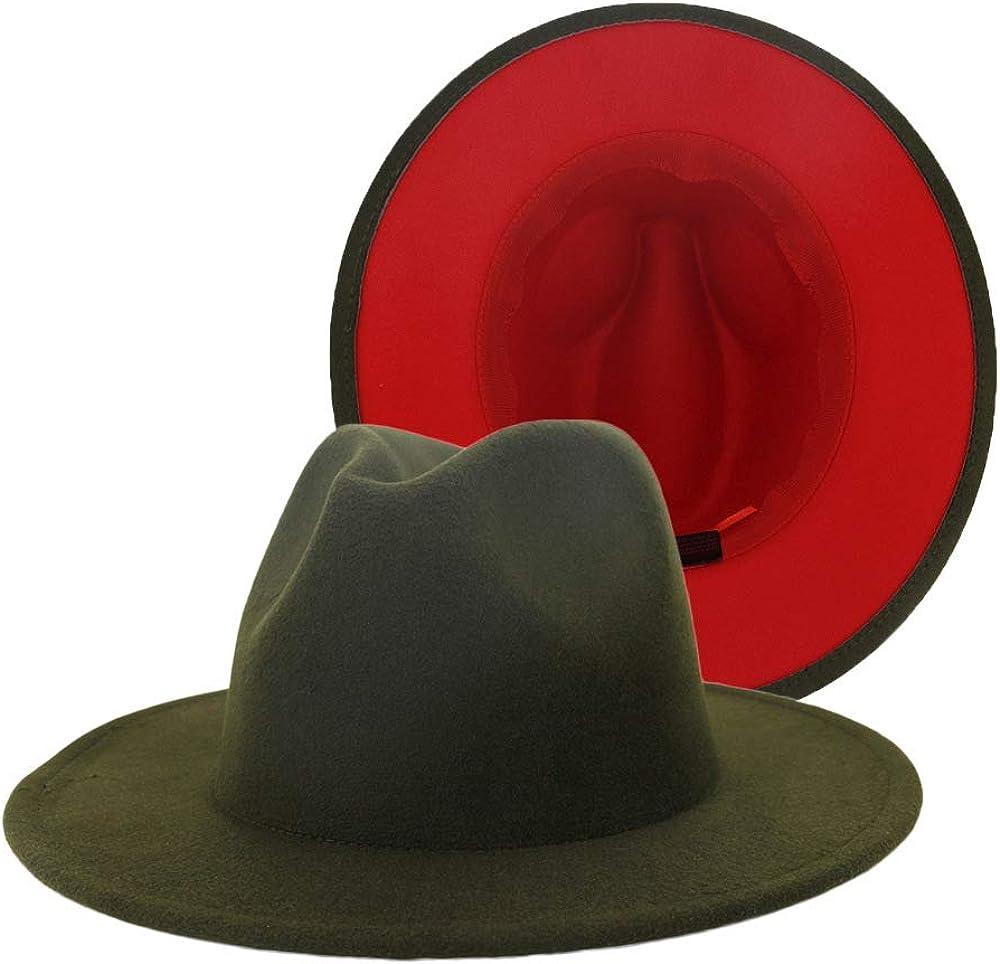 F FADVES Classic Womens Fedora Hats Color Patchwork Wide Brim Panama Church Derby Cap