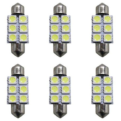 Muchkey® Lot de 6 ampoules LED pour intérieur de voiture - Double Fastoon - 39 mm - 6 LED 5050SMD - Blanc