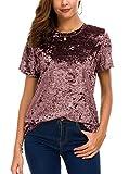 Women's Crew Neck Velvet Top Short Sleeve T-Shirt (S, Pink)