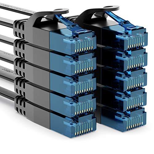 deleyCON 10x 1m CAT6 Flaches Netzwerkkabel 1,5mm Flachkabel Flachbandkabel U-UTP RJ45 - UUTP Patchkabel für DSL LAN Switch Router Modem Repeater Patchpanel - Schwarz