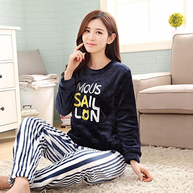 MHRITA Winter Pajama Sets for Women Thick Warm Flannel Pajamas Pants Cartoon Animal Pyjamas Long Sleeve Sleepwear Home Clothing Autumn,6014,L