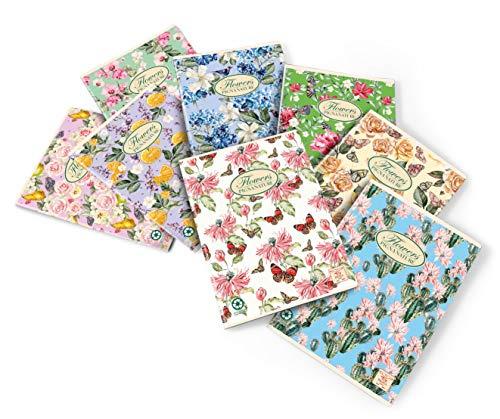 Pigna 02088361R Nature Flowers Quaderno formato A4, Rigatura 1R, righe per medie e superiori, Carta riciclata 80g/mq, confezione da 10 Pezzi