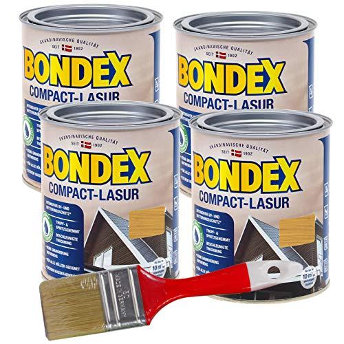 Bondex Compactlasur 3l Schnelltrocknende Wasserbasierte Holz-Lasur mit intensivem UV- und Witterungsschutz fu?r alle Hölzer Innen und Außen zum Sprühen Streichen und Rollen (eiche hell)